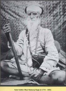 A Black and White photograph taken of Baba Maharaj Singh Ji