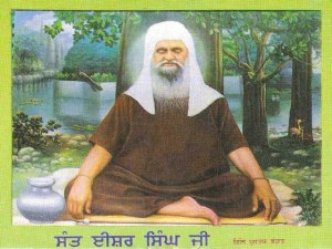 A painting of Sant Ji Maharaj in the jungles.